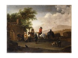 Travellers on Horseback Taking Refreshment on a Mountain Pass, in an Italianate Landscape Giclee Print by Gerrit Adriaensz Berckheyde