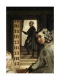 Detail of the Background of Las Meninas, or the Family of Philip IV, C.1656 (Detail) Giclée-Druck von Diego Rodriguez de Silva y Velazquez
