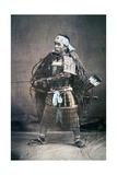 Japanese Samurai Warrior in Full Costume with Weapons, C.1880s Lámina fotográfica