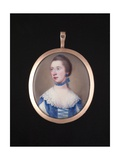 Portrait Miniature of an Unknown Lady Wearing White and Blue Dress with Slashed Sleeves, a Blue… Giclee Print by Samuel Cotes