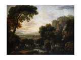 Italianate Landscape with a Capriccio View of Tivoli, a Shepherd and Shepherdess and Cattle Giclee Print by George the Elder Barret