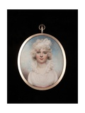 Portrait Miniature of an Unknown Lady Wearing a White Dress with Pink Sash and Bandeau in Her… Giclee Print by William Wood