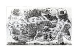 Robinson Crusoe's Island, Engraved by Clark and Pine, 1719 Giclee Print