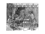 A Draughtsman Taking Details for a Portrait, Using a Perspective Apparatus for Drawing onto… Giclee Print by Albrecht Dürer or Duerer