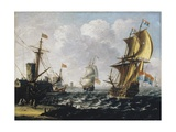 Dutch Levanters in a Rough Sea, before 1686 Giclee Print by Lorenzo a Castro