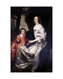 John Manners as a Boy with His Mother Frances, Countess of Rutland, C.1646 Lámina giclée por Daniel Mytens
