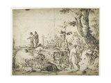 Landscape with Peasants by a Hut, 1593 Giclee Print by Hendrik Goltzius