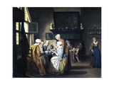 Bourgeois Interior with Ladies Drinking Tea, a Man Reading by the Fireplace Giclee Print by Jan Josef the Elder Horemans