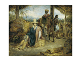 Interior of a Brazilian Rancho in the Province of Santa Paulo with a Travelling Merchant, His… Giclee Print by Charles Landseer