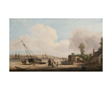 View of Gravesend with a Stranded Fishing Boat and Shipping in the Estuary, 1770 Giclee Print by Dominic Serres