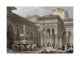 The Alhambra in Granada. Court of the Lions. Engraving Giclee Print