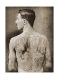 Tattoed British Sailor During the Great War of 1914-18 (Back View) Photographic Print