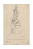 Statue of Frances, Duke of Bedford, in Russell Square, London Giclee Print by Augustus Charles Pugin
