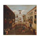 The Forze D'Ercole: the Castellani Acrobats in a Venetian Piazza, C.1746 Giclee Print by Balthasar Nebot