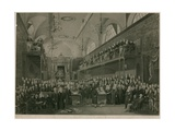 View of the Interior of the House of Lords During the Important Investigation in 1820 Giclee Print by Francis Phillip Stephanoff