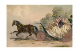 Horse and Carriage at Speed with a Lady at the Whip; Prostitution Giclee Print by  English School