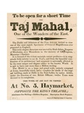 Advert for the Exhibition of a Model of the Taj Mahal at 5 Haymarket, London Giclee Print