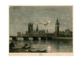 Westminster at Night Giclee Print by Lucien Marcelin Gautier