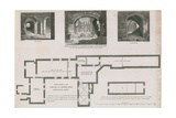 Ground Plan and Views of Vaults of Crosby Hall, Bishopsgate Street Giclee Print by Frederick Nash
