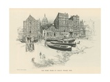 The Dome of St Paul's Cathedral from St Paul's Wharf Pier Giclee Print by Joseph Pennell