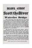 Dreadul Accident of Scott the Diver at Waterloo Bridge Giclee Print