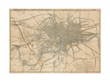 Map of London Showing the Birmingham, Bristol, Thames Junction Railway, 1839 Giclee Print
