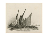 Barges on the Thames Giclee Print by Edward William Cooke