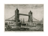 Tower Bridge at High Tide, with the Drawbridge Up Giclee Print