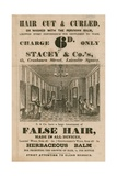 Advert for Stacey and Co.'s, 45 Cranbourne Street, Leicester Square, London, Hair Dressers Giclee Print