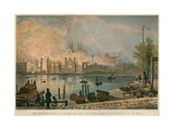 The Destruction by Fire of the Houses of Parliament by Fire on 16 October 1834 Giclee Print by Thomas Mann Baynes