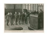 Toeing the Line: a Scene from One of the London Board Schools Giclee Print by Robert Barnes