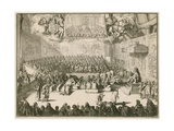 A Session in the House of Commons with George II on the Throne Giclee Print by Johannes & Mortier, Cornelis Covens