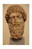 Head of a Bearded God in Pentelic Marble Probably Depicting Zeus or Hermes. 5th Century B.C.… Giclee Print
