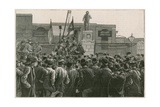 The Great Strike of Dock Labourers at the East End: Mr John Burns Addressing the Men on Strike at… Giclee Print by Robert Barnes