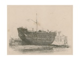 The Discovery Lying at Deptford Giclee Print by Edward William Cooke