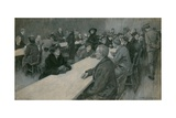 The Enemy in England: Visiting Day at the Internment Camp Near London Giclee Print by William Hatherell