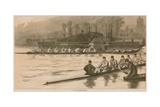 Reminiscences of an Oxford and Cambridge Boat Race: at the Start-Peeling Giclee Print by Sydney Prior Hall