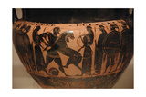 First Job of Hercules: Kill the Nemean Lion and Take their Skin. Krater Painted with Black… Giclee Print