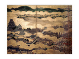 Detail of Part of a Folding Screen Which Depicts the Siege of Osaka Castle (1615) Giclee Print