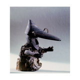 A Small Figure of a Man Wearing a Wooden Hunting Hat Giclee Print