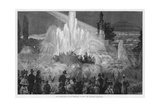 The International Health Exhibition at Night: the Fountains Illuminated Giclee Print by William Heysham Overend