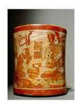 Polychrome 'Waisted' Cylindrical Vase with 'Palace Scene' Giclee Print