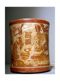 "Polychrome 'Waisted' Cylindrical Vase with ""Palace Scene"" Giclee Print"