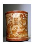 "Polychrome 'Waisted' Cylindrical Vase with ""Palace Scene"" Giclee Print"