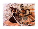 A Samurai on Horseback Fording a River Giclee Print