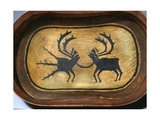 Bentwood Serving Dish with a Bull Caribou (Right) Linked to its Spiritual Counterpart, Which Is… Wydruk giclee