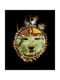 Buffalo Hide Kachina Mask or Shield Representing the Sun Giclee Print