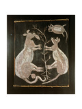 Bark Painting in X-Ray Style Depicting a Pair of Kangaroos Giclee Print