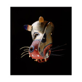 Polychrome Mask in the Form of a Stylized Representation of an Animal Head Giclee Print