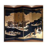 Four Panels from a Folding Screen Depicting Portuguese Merchants and Trading Vessels Giclee Print